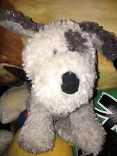"""RARE HTF GANZ 12"""" FUZZY GRAY AND WHITE EYE PATCH  PUPPY DOG  Plush Toy new nwot"""