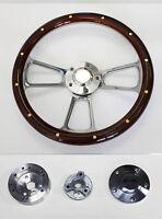 "14"" Mahogany w/Rivets & Billet Steering Wheel fits Ididit & Flaming River Column"