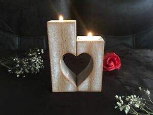 Wooden Tea Light Candle Holders Heart Wood Candlestick Christmas Family Gift