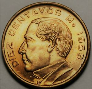 Mexico 10 Centavos, 1959 Gem Unc~Benito Juarez