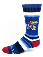 Kansas Jayhawks Blue White & Red Rainbow Stripe Men's Crew Socks