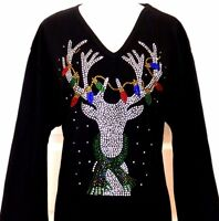 PLUS 1X Black Christmas Light Reindeer Rhinestone Hand Embellished Top Shirt