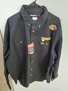 Wrangler Riggs Workwear Men's Logger Twill Long Sleeve Work Shirt Black Size XXL