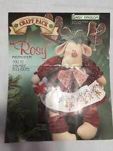 """Daisy Kingdom Rosy Reindeer Doll Fabric Panel Kit 20"""" 1995 & Partial Rudy Kit"""
