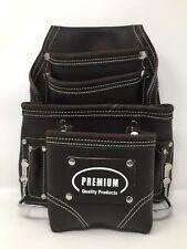 "Pack Of 5  Leather Gold ""PREMIUM"" Ten Pocket Oil Tann Tool Pouch Hammer Holders"