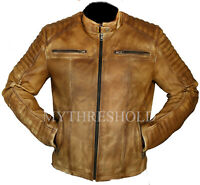 MENS CLUB VINTAGE BIKER CAFE RACER REAL LEATHER JACKET SLIM FIT RETRO MOTORCYCLE