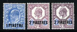 BRITISH LEVANT KE VII 1905-08 Surcharged 1 & 2 PIASTRES Set SG 13,14 & 14ab MINT