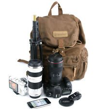 Waterproof Large Vintage Canvas DSLR Camera Backpack Bag For Canon Nikon Sony