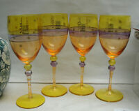 Four (4) ROSCHER Crystal - Yellow Multi-color stained - WINE GOBLETS