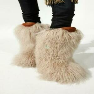 real fur Women mid-calf ankle snow boots Flat Fashion Runway warm non-slip shoes