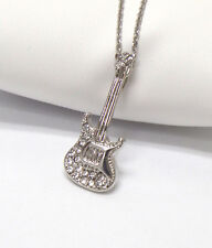 GUITAR Whitegold Plating Crystal Accent Music Theme GUITAR Pendant  Necklace