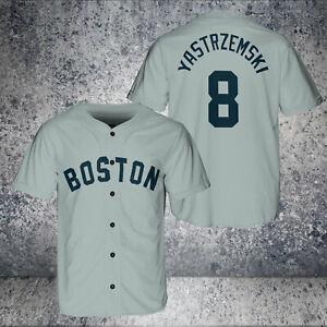 Carl Yastrzemski #8 Boston Red Sox Gray AOP Baseball Jersey S-5XL Free Shipping