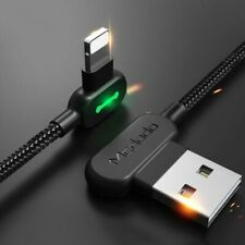 90 Degree USB Cable Charger For Iphone X 6 S 7 8 10 Fast Charging With LED Light