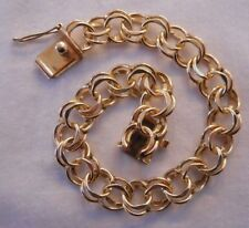 WIDE AND HEAVY Vintage 14k Gold DOUBLE LINK CHARM BRACELET 7.25 In 21 Gr #17178