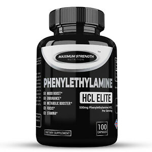 Phenylethylamine HCL Natural Mood Booster, Energy Aid and Fat Loss Support 100ct
