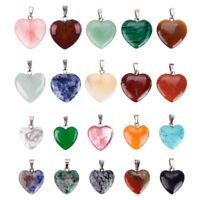 20Pcs Healing Point Chakra Heart Natural Stone Quartz Crystal Pendant Lots