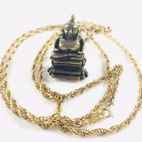 Vintage Money Buddha Brass Charm Pendant on 12KT Gold Filled 33in Long Necklace