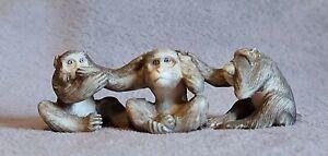 Antique Japanese Meiji Carved STAG ANTLER   3 Wise Monkeys Okimono Netsuke c1900
