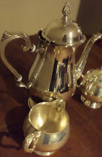 3 Pc Silverplate Teapot Creamer & Sugar Set by Leonard
