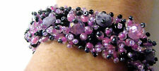 Amethyst Chip stone Black pink Lilac Beaded Cluster Bracelet Fairtrade Arty New