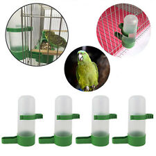 4pcs Pet Cage Bird Drinker Food Feeder Waterer w/Clip For Cockatiel Budgie HG