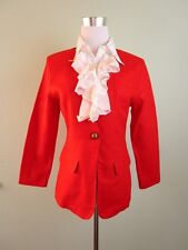 GREEN APPLE Fashion Womens Vtg Retro Red Linen Casual Blazer Jacket sz M AV40