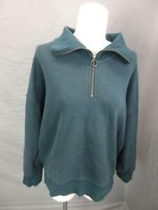 Athleta Size M Womens Green Athletic Cotton Blend Half-Zip Pullover T646