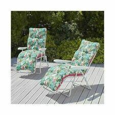 2x Sun Lounger Recline Cushioned Chaise Lounge Garden Recliner Chair Bath