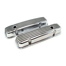 Chevy SBC 350 Classic Finned Aluminum Valve Covers - Short w/Hole