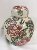 """Chinese Hand Painted Ginger Jar Pink Burgundy and Green 6.5"""" T"""