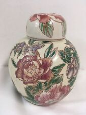 Chinese Hand Painted Ginger Jar Pink Burgundy and Green