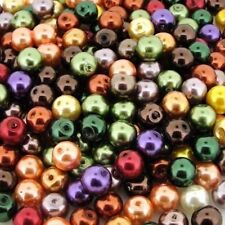 Glass Pearls Round Beads 8mm Fall Colors Mix 100pcs (gprd08m-fll)