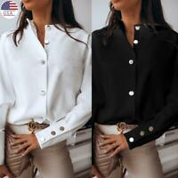 Women Long Sleeve Button Down T Shirt Tops Loose Casual Ladies OL Work Blouse US