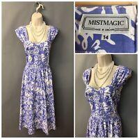 Vintage Mistmagic Blue Floral Cotton Retro Dress UK 14 EUR 42 Made in England