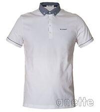 BEN SHERMAN New Men's Polo Shirt White Colour Grey Collar Embroidered Logo BNWT