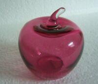 Vintage Pilgrim Cranberry Glass Apple Fruit Paperweight Figurine w/Label