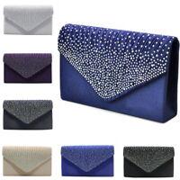 Women Evening Diamante Satin Clutch Bag Party Prom Envelope Shoulder Handbag