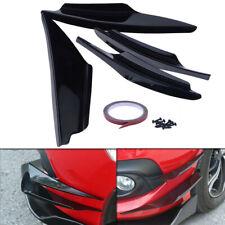 4x Gloss Black ABS Car Front Bumper Spoiler Fins Body Valence Splitter Canards