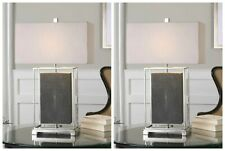 """TWO URBAN MODERN DECOR 28"""" TABLE LAMPS POLISHED NICKEL METAL FRAME UTTERMOST"""