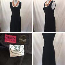 Vintage Laura Ashley Black Velvet Womens Dress Sz 8 S Steampunk Goth Romantic