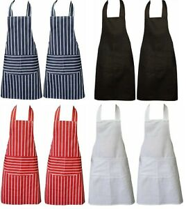 Chefs Apron with Pockets, Pack of 2, Cooking Catering BBQ Apron for Men & Women