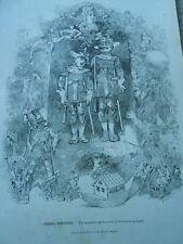 Gravure 1876 - Paris Théatre Un souvenir de Geneviève de Brabant J. Offenbach
