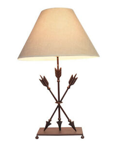 Zeckos Cast Iron Old West Style Triple Arrows Table Lamp 26 Inches High