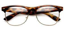 Tortoise Frame Gold Rim Round nerd 80's Sun-Glasses Clear Lens Half rimless