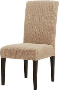 Subrtex Stretch Textured Mini Dots Dining Chair Slipcover (Set of 4, Khaki)