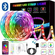 66ft RGB 5050 LED Strip Lights Light 24 Bluetooth Key Remote kit TV Background