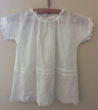 Vintage Baptism Christening Gown Dress Eyelet Lace Short Sleeve Photo Prop Craft