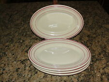 "4 Iroquois Iro-Tan Tan with Red Stripes 8 1/4"" Platters"