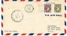 UK GB NIGERIA 1941 FIRST DAY COVER AIR MAIL LAGOS TO SAN JOSE CALIF ON PAN AM CL