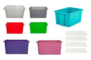 CLEAR PLASTIC STORAGE BOXES WITH LID STACK ABLE STACKING CONTAINER TUB COLORED